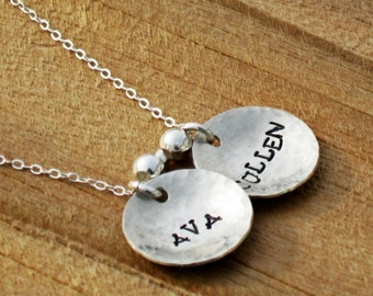 Hand Stamped personalized Mommy necklace Sterling Silver Necklace she will love this