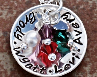 """Mothers Necklace Hand Stamped Charm Jewelry Custom Personalized Sterling Silver  Necklace 3/4"""" Disc"""