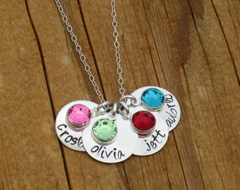 Mommy or Grandma Necklace Personalized  Necklace Handstamped with 4 children's names discs and 4 swarovski crystal birthstone charms