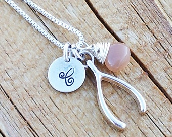 Personalized Sterling silver Charm necklace with initial, wishbone, & wire wrapped stone