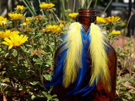 Sunny Day - Feather Earrings, Rooster Feathers, Bright, Colorful Feathers, Chargers, Rams