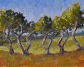 Original Oil Painting, Dancing Trees 6x8 oil on canvas panel - Daily Painting