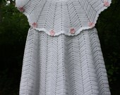 Crocheted girls christening/baptism dress white cotton with pink flowers