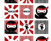 Ninja Love  Birthday Digital Cupcake Toppers  2 Inch Circle Tags PRINTABLE
