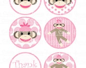 Sock Monkey Pink  Digital Large Round Tags N Toppers
