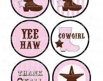 Vintage Cowgirl PINK  Digital Large ROUND Tags N Toppers PRINTABLE