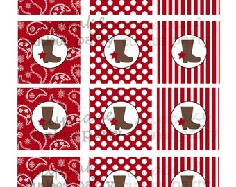Cowgirl Pretty RED  Digital  Cupcake Toppers   2 Inch Circle Tags PRINTABLE