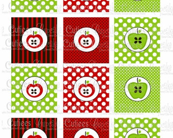 Apple N Dots  Digital Cupcake Toppers  2 Inch Circle Tags Instant Download