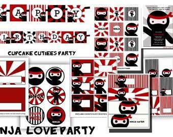 Ninja Party  Digital Party Pack set  PRINTABLE
