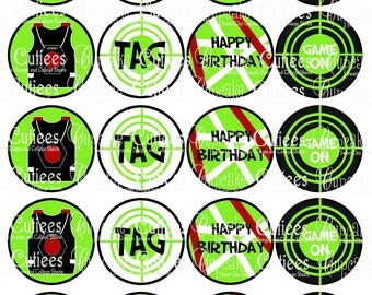 Laser Tag Digital Collage Cupcake Toppers 2 Inch Circle Tags NO PUNCH needed- Instant Download