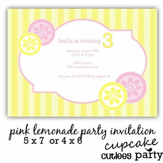 Pink Lemonade Party  PHOTO  Digital Custom Invitation Card N Thank You PRINTABLE
