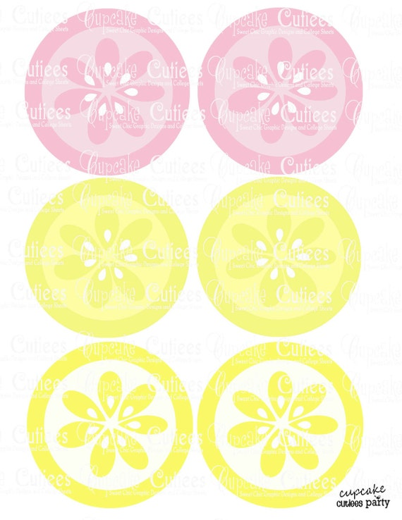Pink Lemonade 3.5 Circles   Digital Large ROUND Tags N Toppers PRINTABLE Instant Download