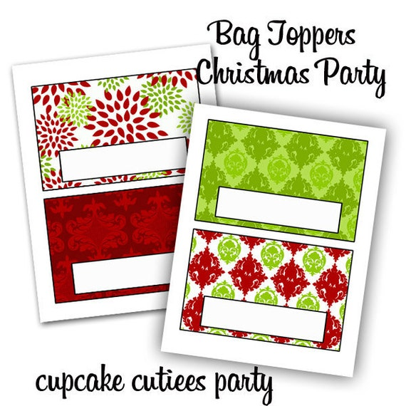 Christmas Party  Bag Toppers Digital BLANK  Bag Toppers Square Digital Party -Instant Download