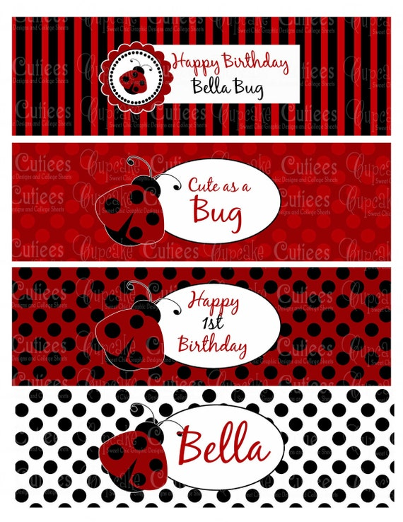 Items similar to ladybug love bug digital water bottle labels personalized printable on etsy - Ladybug watering can ...