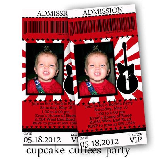 Rock Star BOY  Red White  Digital Custom Invitation Tickets  Printable u PRINT