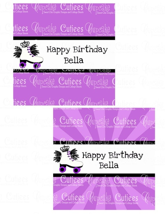 Custom Roller Skate Princess Purple Candy Wrappers  Digital Large Personalized Party Printable- U pRiNt