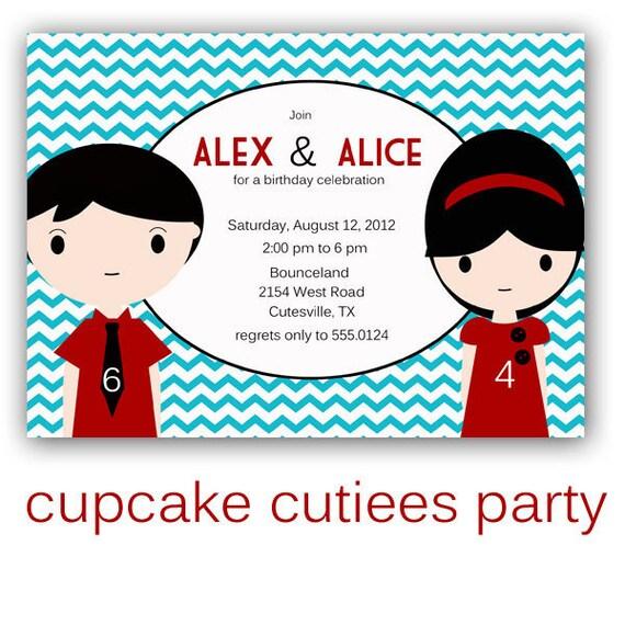 Brother Sister Mod Love Sibling Digital Custom Invitation Card  PRINTABLE