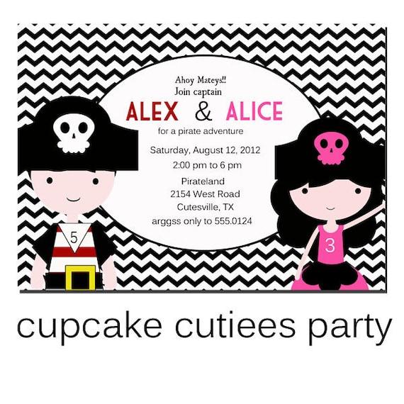 Pirate Fun Brother Sister Sibling Digital Custom Invitation Card  PRINTABLE