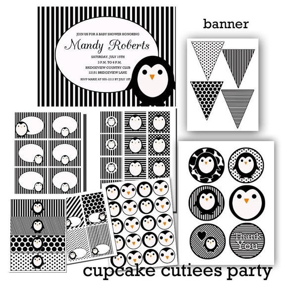 Penguin Party BW classic Digital Party Pack set  PRINTABLE