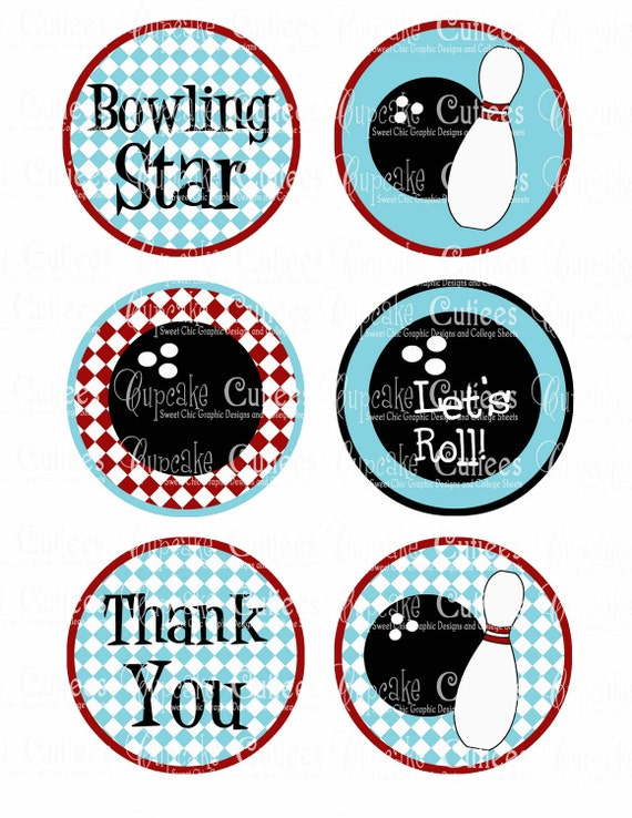 Bowling Retro Plaid Digital Large ROUND Tags N Toppers Instant Download