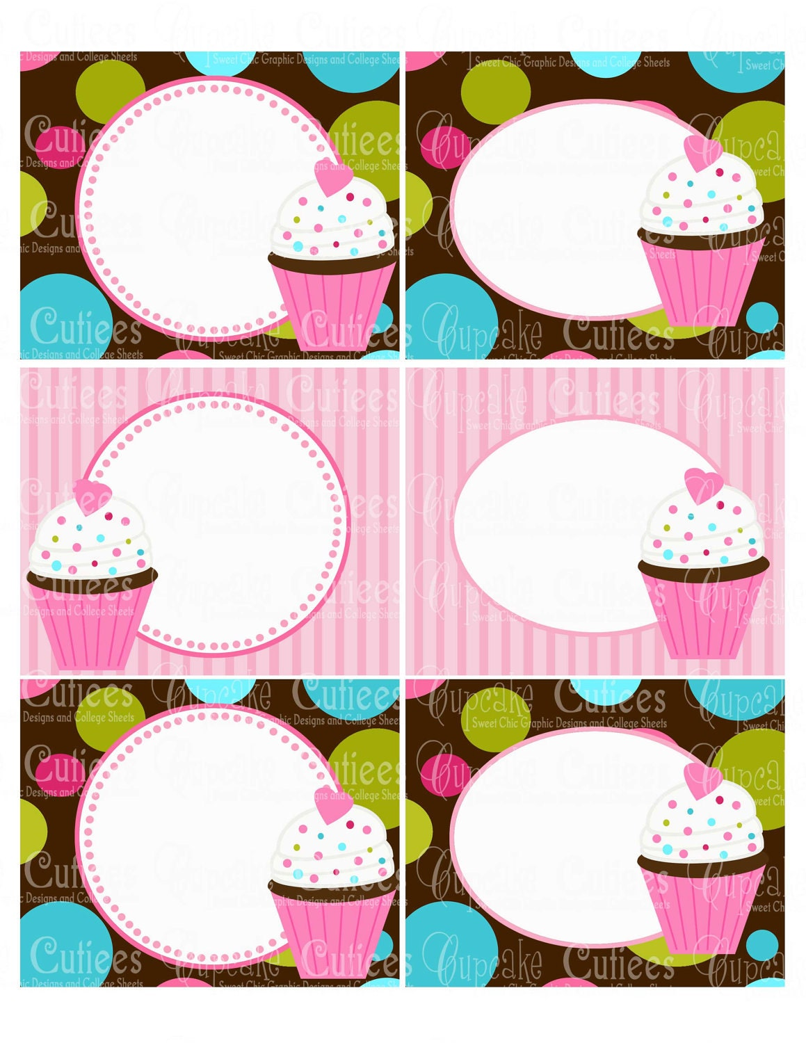 Funky Cupcake Brown Mod Digital Collage By Cupcakecutieesparty