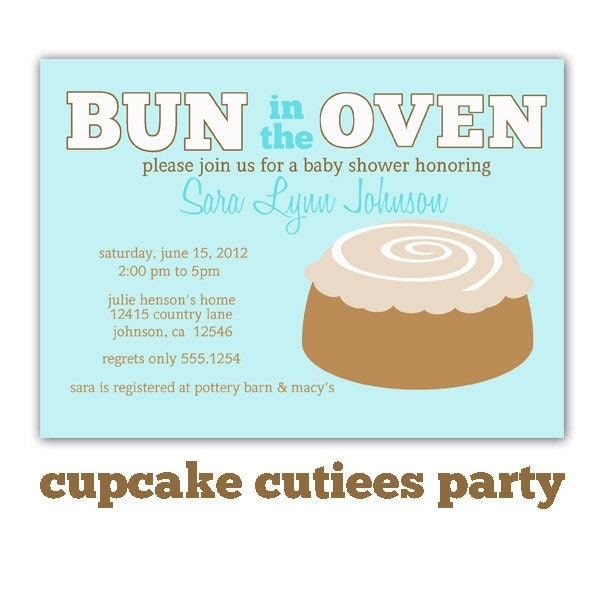 bun in the oven baby shower blue digital by cupcakecutieesparty