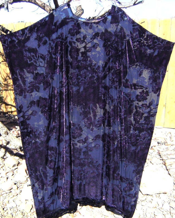 NEW Womens Plus Sz Silk & Velvet Burnout PURPLE Caftan Dress Hand Dyed 2X 3X 4X