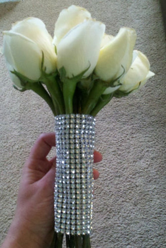 Silver Bridal Bouquet Holder : Items similar to new silver rhinestone look crystal