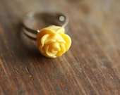 Yellow Rose Adjustable Ring . Cute . Adorable. For her . Gift