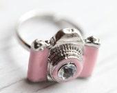 Pink Camera Ring . Enameled . Adjustable . Adorable . Christmas present . Photographer