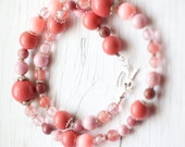 Pink Necklace . Spring . Mother's day . Summer . Bridal