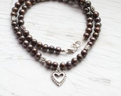 Dark coffee Freshwater Pearl Necklace . Heart Pendant . Bridal . Wedding . Classy