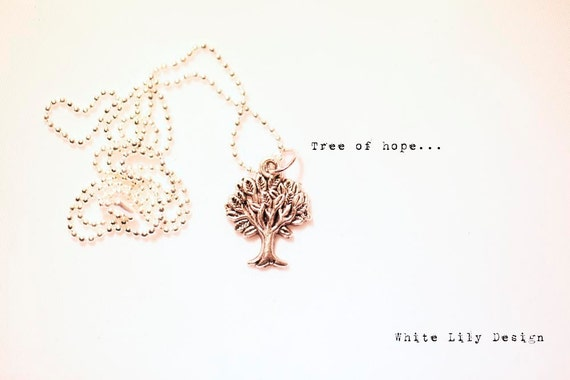 Tree Necklace . Tree of hope . Antique Silver color . Ball chain . Cute
