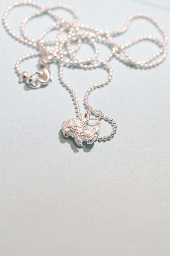 Sterling silver bunny . Rabbit . Ball chain. Easter . Mom . Gift . Spring