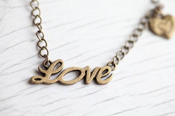 Love Heart Necklace . Antique brass . Chain . Cute . LAST ONE