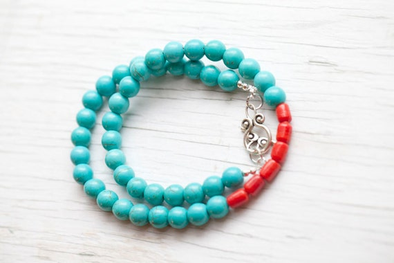 Turquoise Necklace . Red coral bead . Toggle clasp . Spring . Teal