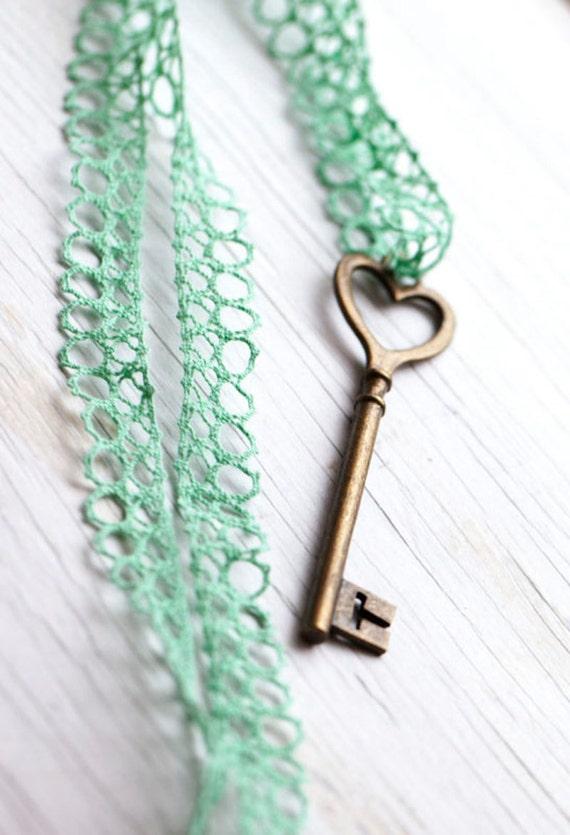 Mint Large Heart Skeleton Key . Mint Green . Lace ribbon . Vintage style . Minty . Spring