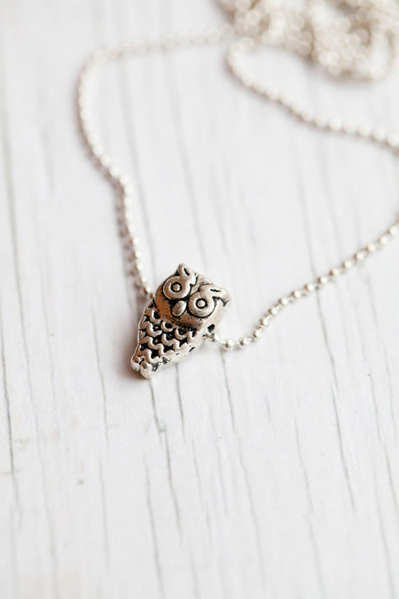Owl Pendant . Ball chain. Small . Cute . Gift for her