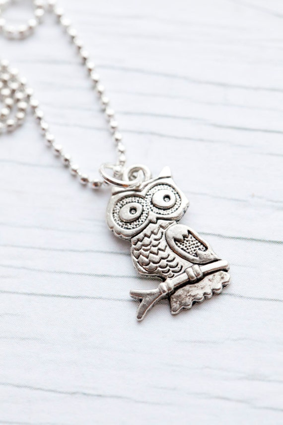 Owl Pendant . Ball Chain. Small. Cute . Gift for her . Spring . Mother's day . LAST ONE