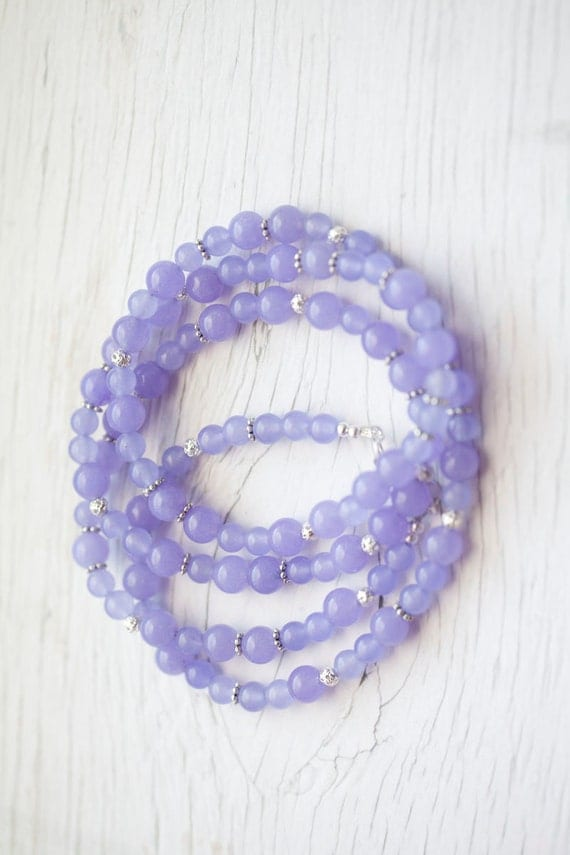 Long Lilac Jade Necklace . Violet . Bridal . Wedding