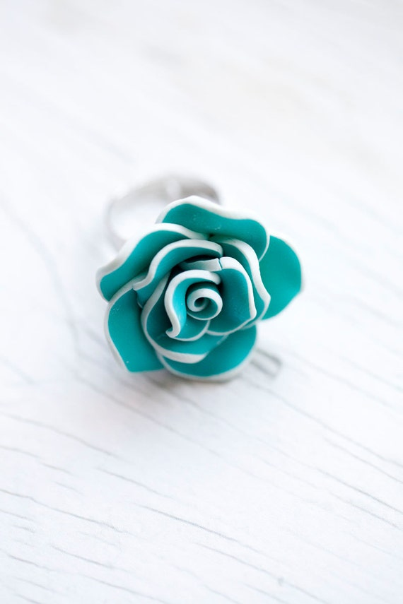Blue & White Flower Ring . Adjustable . LAST ONE