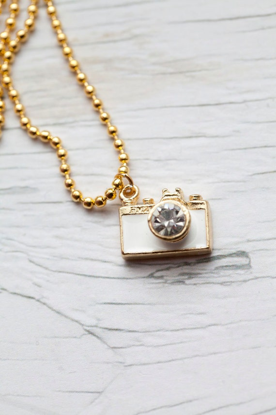 Camera Pendant . White . Gold . Enameled . Ball Chain . Photographer . LAST ONE