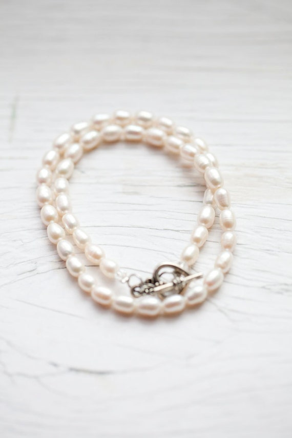 Cream Freshwater Pearl Necklace . Bali heart toggle clasp . Bridal . Wedding . Classy