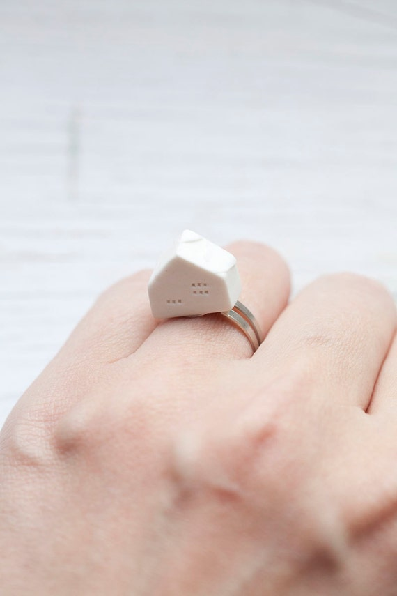 White Handmade Ceramic House Ring . Adjustable . Summer . ONLY 1 LEFT