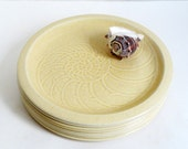Franciscan Interpace Sea Sculptures Nautilus Shell Dinner Plates Mid Century