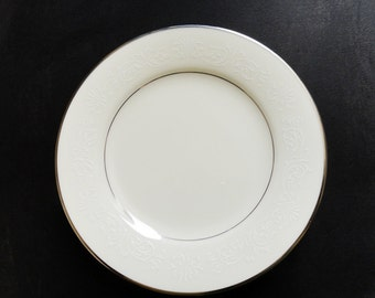 Noritake Marseille 4 Bread and Butter Plates 7550 White Scrolls Platinum