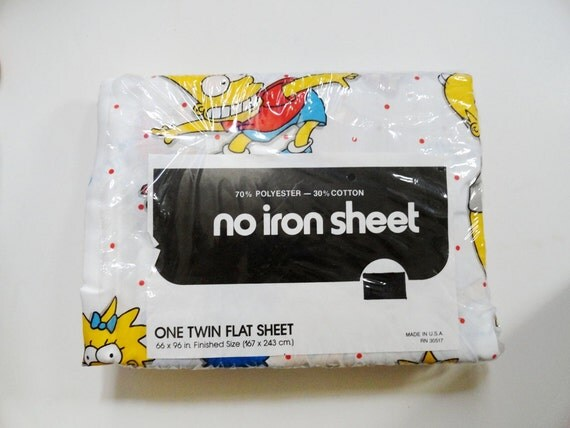 Vintage The Simpsons Twin Flat Sheet 80s Mint