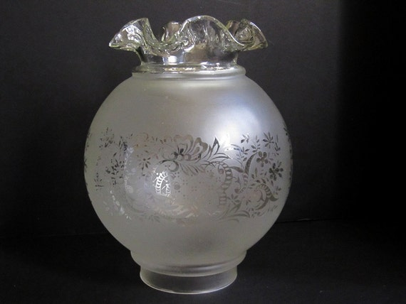 Vianne French Satin Etched and Ruffled Glass Ball Shade