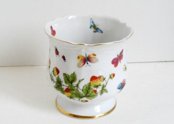 Lenwile Ardalt Porcelain Vase Planter Butterflies Strawberries Ladybugs