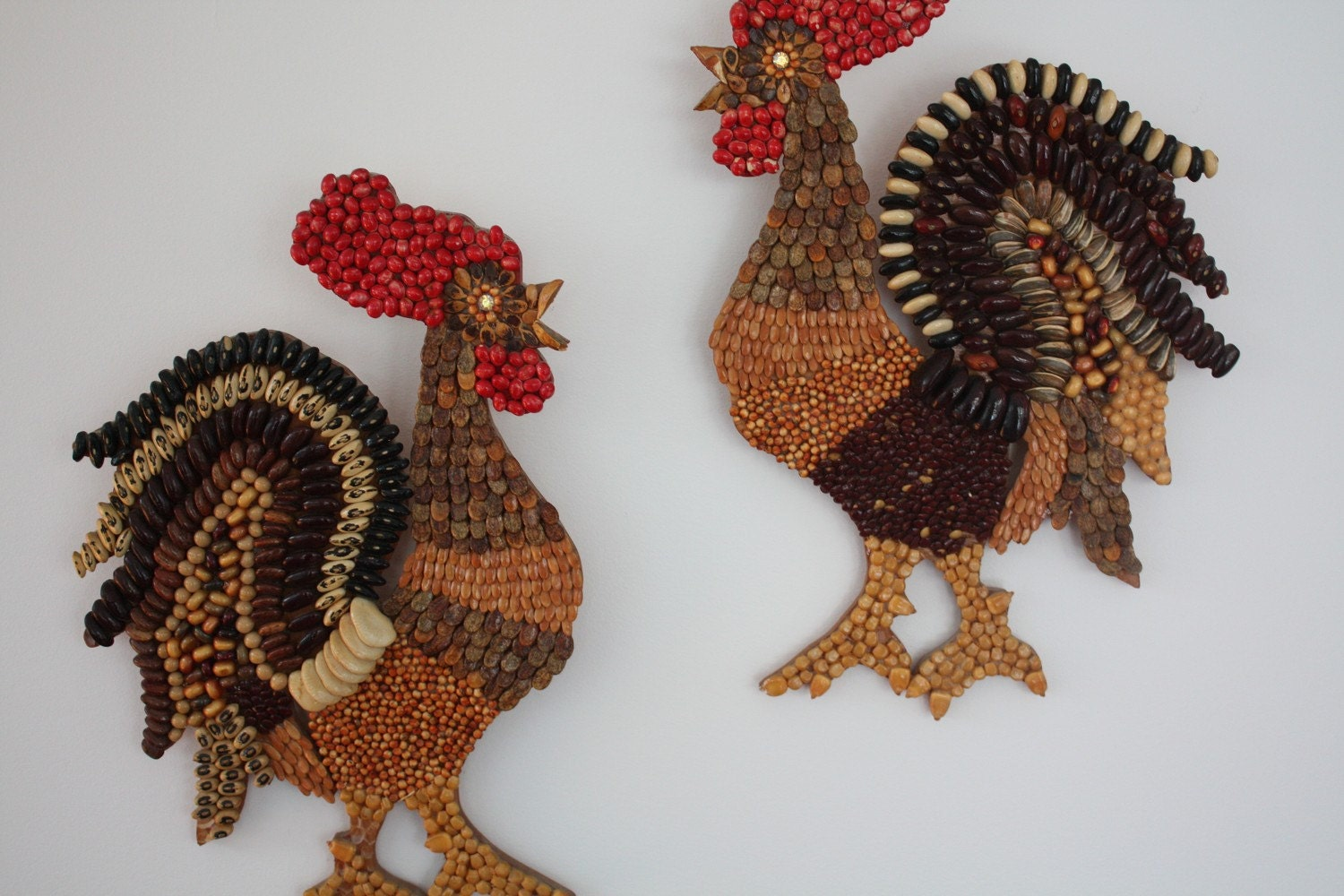 Vintage Seed Art Rooster Wall Hangings